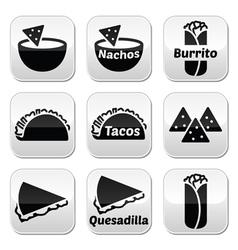 Mexican food buttons - tacos nachos burrito que vector