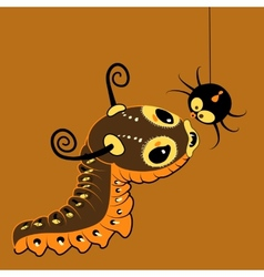 Monster-caterpillar with spider vector image vector image
