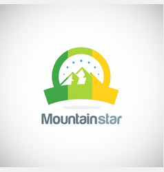 mountain star emblem logo vector image