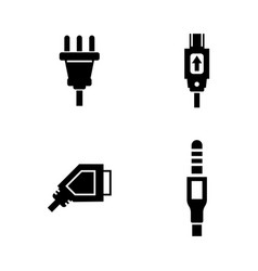 Plug simple related icons vector