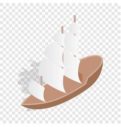 Sailing boat isometric icon vector