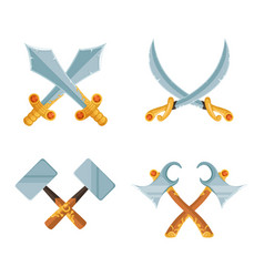set of cartoon game design crossed sword vector image vector image