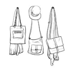 Sketched wardrobe hand drawn clothes vector