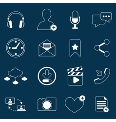 Social network icons outline vector image
