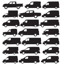 Van and pickup silhouettes vector