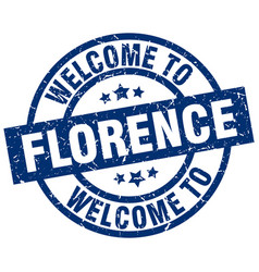 Welcome to florence blue stamp vector