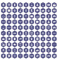 100 robot icons hexagon purple vector