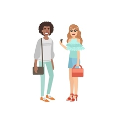Two friends summer street fashion look vector