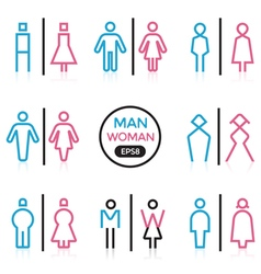 Man and Woman sign outline stroke vector image