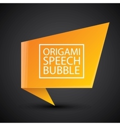 Abstract glossy orange origami speech bubble vector