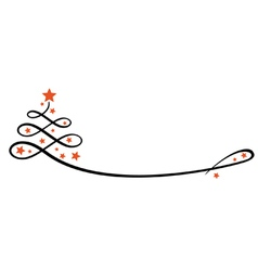Stylised christmas tree with stars line vector