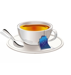 Hot tea in a tea cup vector