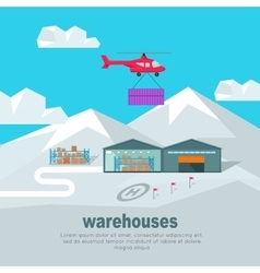 Helicopter worldwide warehouse delivering vector