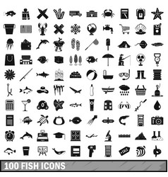 100 fish icons set simple style vector image