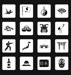 japan icons set squares vector image