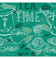 Vintage tea background vector image