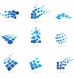 Dotted icons and logos set vector