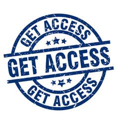 Get access blue round grunge stamp vector