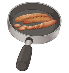 A pan with sausages vector