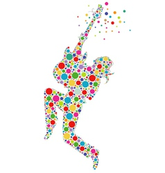 Rock star guitarist colorful silhouette vector