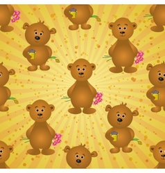 Seamless pattern teddy bears and gifts vector image