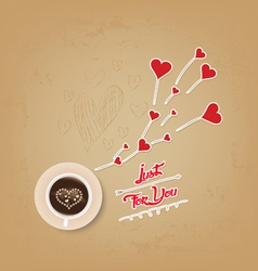 Cup of coffee with heart valentines day greeting vector