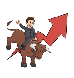 Businessman is riding bull 3 vector