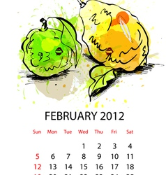 calendar for 2012 with fruit february vector image