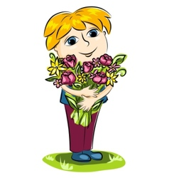 Boy and flowers vector