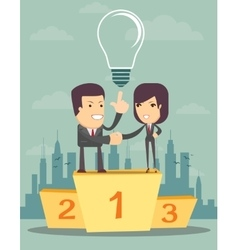 Business people on a pedestal vector