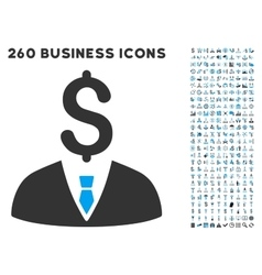 Businessman icon with flat set vector