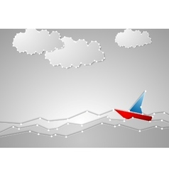 Bright sailboat on grey seascape tech schematic vector