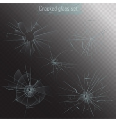 Set of different types of realistic broken glass vector
