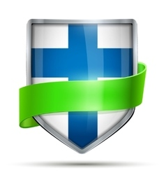 Shield with flag finland and ribbon vector
