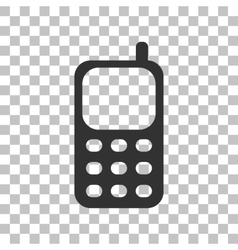 Cell phone sign dark gray icon on transparent vector