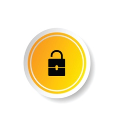 Sticker in yellow color with padlock open vector