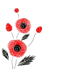 Abstract background with a poppies vector image vector image
