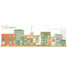 Abstract belmopan skyline with color buildings vector