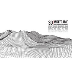 Abstract wireframe landscape background vector