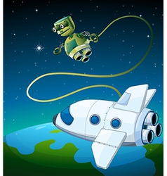 An aircraft and a robot at the outerspace vector