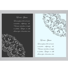 Black and white flyers with ornate pattern vector
