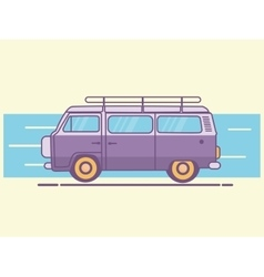 car van line art retro vintage vector image