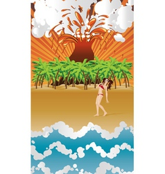 Cartoon volcano island and girl vector image