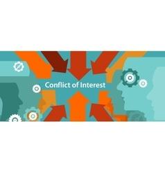 Conflict of interest business management problem vector