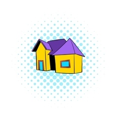 Cottage icon comics style vector image