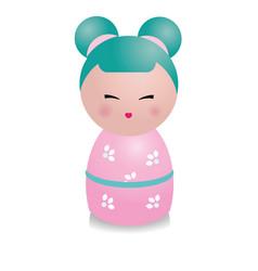 cute kawaii kokeshi doll traditional japanese vector image