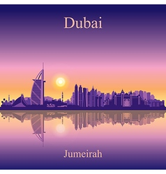Dubai jumeirah silhouette on sunset background vector