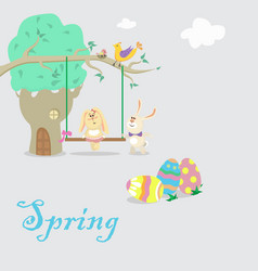 Easter bunnies chilling on swings vector