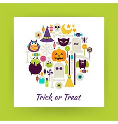 Flat Style Circle Set of Halloween Trick or Treat vector image vector image