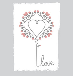 Floral art heart shape love sign flower and leaf vector